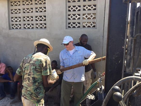 Greasing stem pipe in Merger Haiti